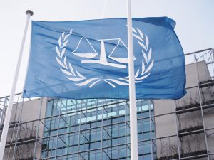 The flag in front of the International Criminal Court